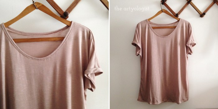 a homesewn pale pink tshirt with cuffs