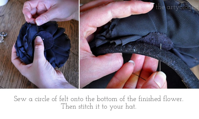 sewing the flower onto the hat