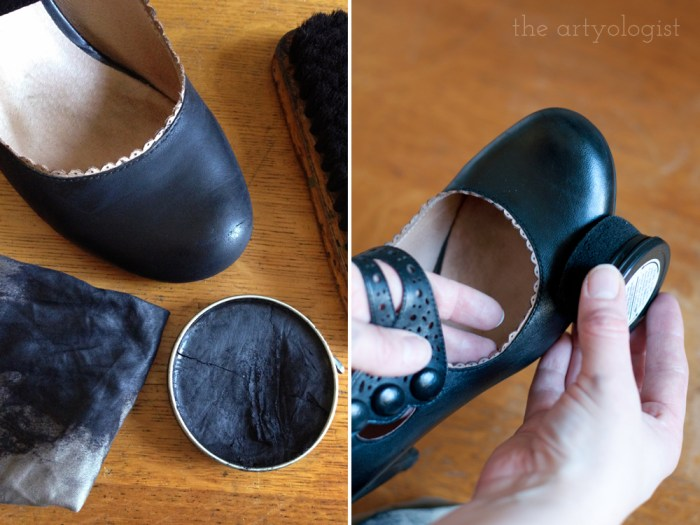 polishing and shining shoes