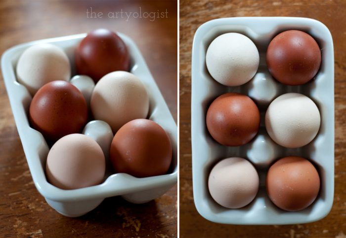 a ceramic egg tray filled with brown eggs