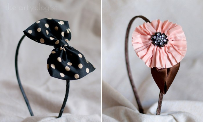 a polka dot bow headband and a pleated flower headband