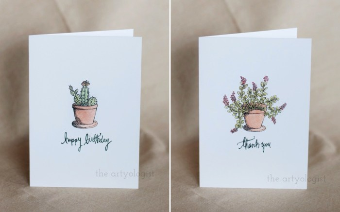 two card designs with plants on the front