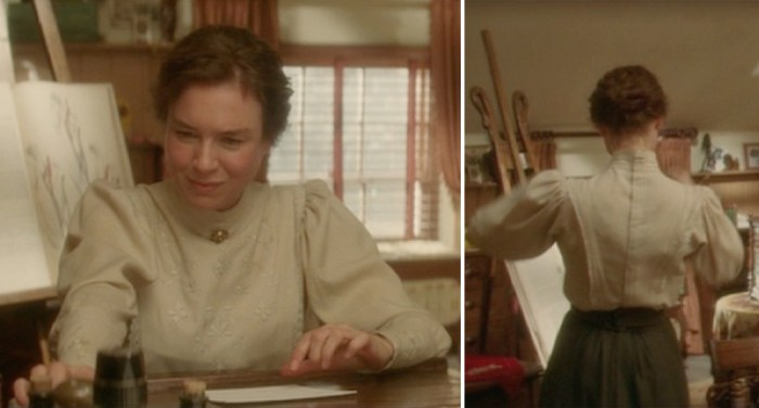 miss potter wearing a cream embroidered blouse