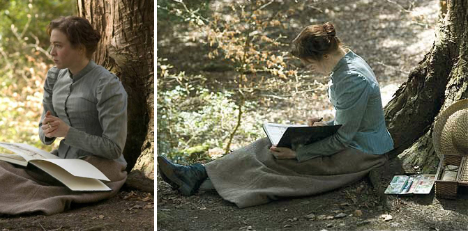 miss potter sketching in the woods wearing a blue shirtwaist and brown skirt