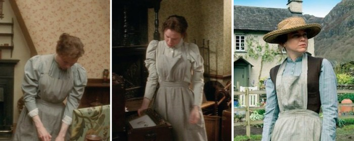 miss potter wearing aprons over her daywear
