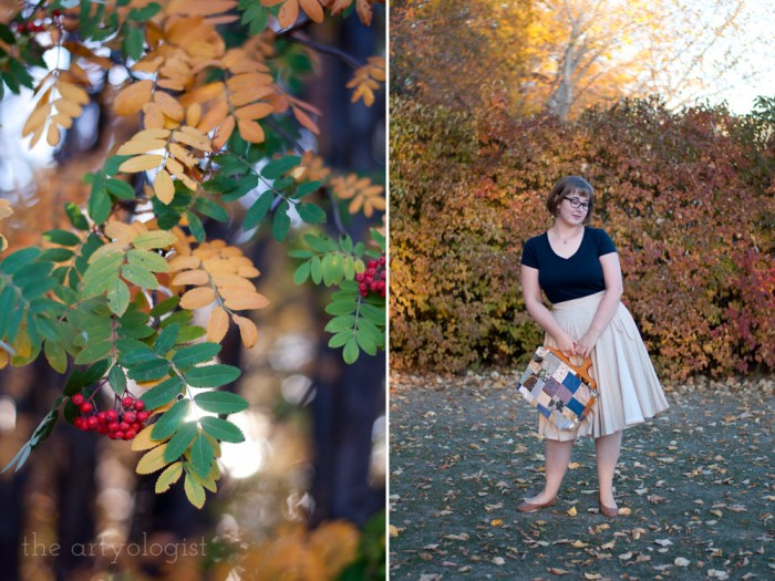 mountain ash tree berries and woman wearing a wrap skirt and navy blue t-shirt