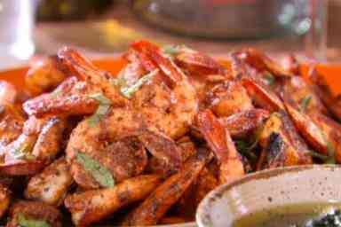 http://www.foodnetwork.com/recipes/bobby-flay/grilled-shrimp-skewers-with-cilantro-mint-chutney-recipe.html