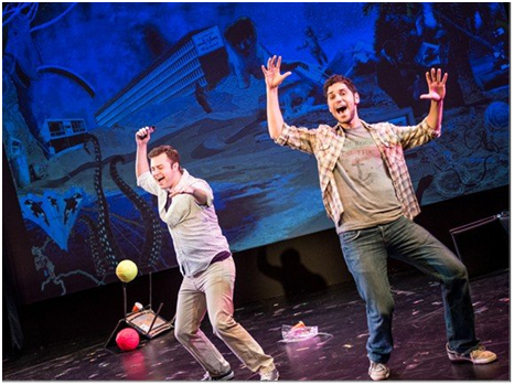 Trey Harrington and Perry Sherman in a scene from Wikimusical