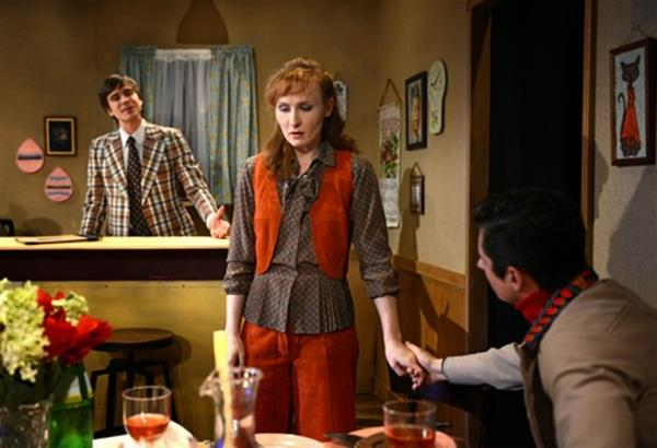 """Mark Banik, Kendall Rileigh and James Michael Lambert in a scene from """"The Brightness of Heaven"""" (Photo credit: John Quilty)"""