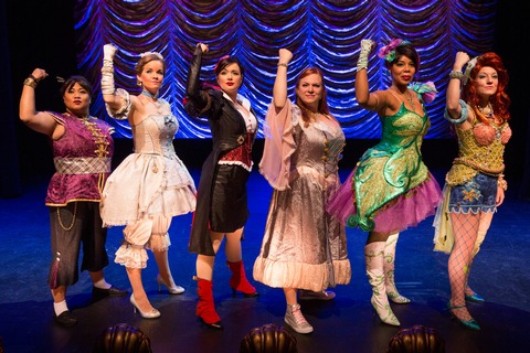 "Lulu Picart, Becky Gulsvig, Michelle Knight, Jean Bechter, Soara-Joye Ross and Alison Burnsin a scene from ""Disenchanted!"" (Photo credit: Matthew Murphy)"