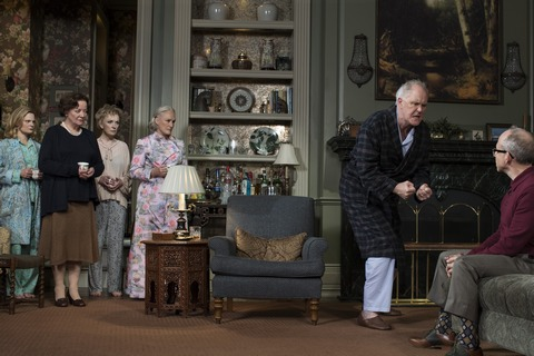 "Martha Plimpton, Clare Higgins, Lindsay Duncan, Glenn Close, John Lithgow and Bob Balaban in a scene from Act III of ""Edward Albee's A Delicate Balance"" (Photo credit: Brigitte Lacombe)"
