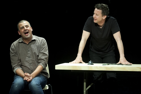 """Marcus Youssef and James Long in a scene from """"Winners and Losers"""" at the Soho Rep. (Photo credit: Pavel Antonov)"""