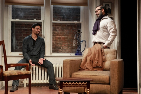 """Zarif Kabier and Laith Nakli in a scene from Rattlestick PlaywrightsTheater's production of """"Shesh Yak"""" (Photo credit: Sandra Coudert)"""