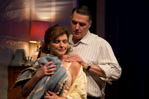 "Angelina Fiordellisi and Robert Cuccioli in a scene from ""Snow Orchid"" (Photo credit: Jeremy Daniel)"