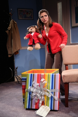 "Christina Bianco in a scene from ""Application Pending"" (Photo credit: Joan Marcus)"