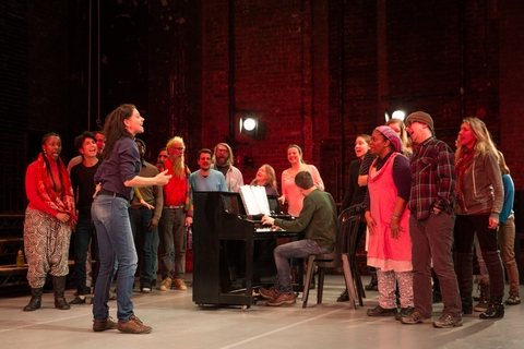 "Neve McIntosh and choir in a scene from ""The Events"" (Photo credit: Matthew Murphy)"