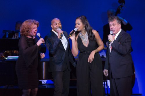 "Klea Blackhurst, Darius de Haas, La Tonya Hall and Billy Stritch as they appeared in ""New York: Songs of the City"" (Photo credit: Richard Termine)"