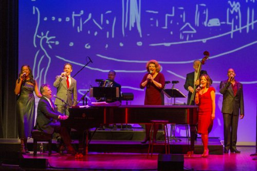 """La Tonya Hall, Billy Stritch, Jeffrey Schecter, Klea Blackhurst, Leslie Kritzer and Darius de Haas as they appeared in """"New York: Songs of the City"""" (Photo credit: Richard Termine)"""