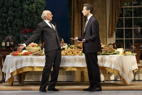 "Larry David and Ben Shenkman in a scene from ""Fish in the Dark"" (Photo credit: Joan Marcus)"