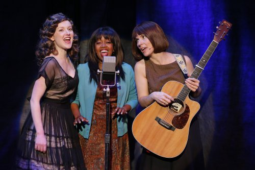"Sylvie Davidson, Jennifer Leigh Warren and Jamie Drake in a scene from ""Lonesome Traveler"" (Photo credit: Carol Rosegg)"