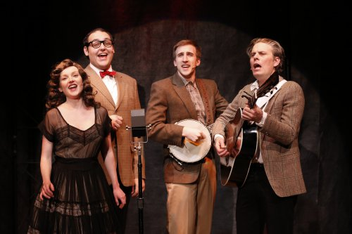 "Sylvie Davidson, Nicholas Mongiardo-Cooper, Justin Flagg and Matty Charles in a scene from ""Lonesome Traveler"" (Photo credit: Carol Rosegg)"