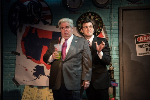 """John Treacy Egan as Newt Gingrich and Kevin Zak as Kenneth Starr in a scene from """"Clinton the Musical"""" (Photo credit: Russ Rowland)"""