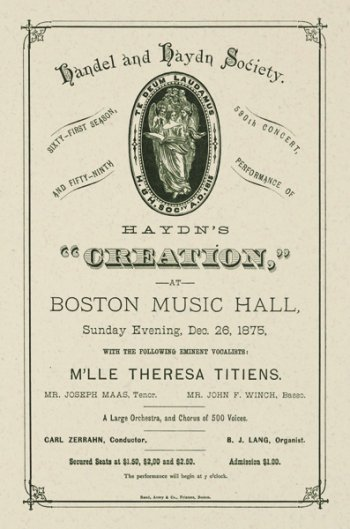 "Haydn and Handel Society's ""Creation,"" 1875"