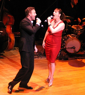 "Ben Davis and Julia Murney as sang ""Once There Was  Man""  from ""The Pajama Game"" at ""Broadway by the Year: The Musicals of 1941-1965"" (Photo credit: Michael Portantiere)"