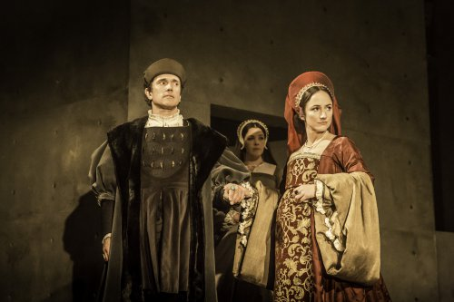"Ben Miles as Thomas Cromwell and Lydia Leonard as Anne Boleyn in a scene from the RSC's ""Wolf Hall"" (Photo credit: Johan Persson)"