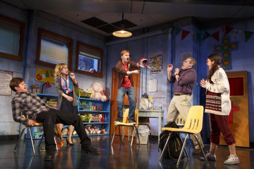 "Michael Oberholtzer, Geneva Carr, Steven Boyer, Marc Kudisch, and Sarah Stiles in a scene from ""Hand to God"" (Photo credit: Joan Marcus)"