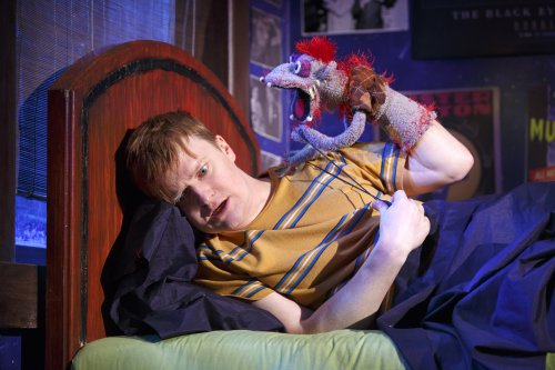 "Steven Boyer in a scene from ""Hand to God"" (Photo credit: Joan Marcus)"