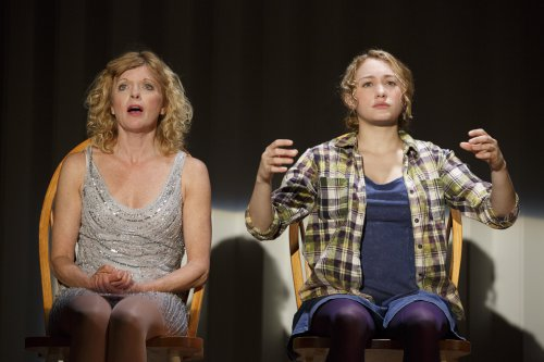 "Karyn Quackenbush as Sandy and Jill Shackner as her daughter Becca in a scene from the new musical ""Iowa"" at Playwrights Horizons (Photo credit: Joan Marcus)"