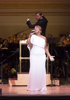 "Queen Latifah as she sang ""When You're Good to Mama"" from ""Chicago"" with Maestro Steven Reineke at The New York Pops 32nd Birthday Gala (Photo credit: Richard Termine)"