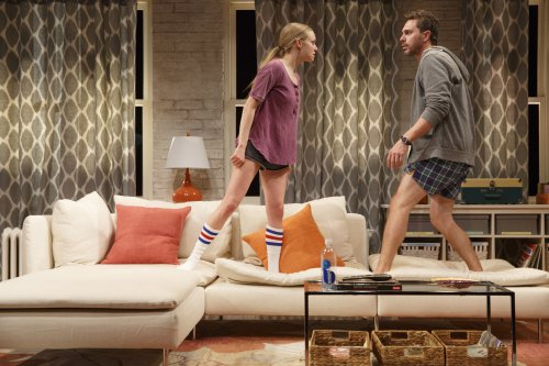 "Amanda Seyfried and Thomas Sadoski in a scene from Neil LaBute's ""The Way We Get By"" (Photo credit: Joan Marcus)"