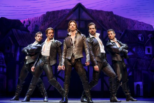 """Christian Borle as Shakespeare (center) with Ryan VanDenBoom, Eric Sciotto, Bud Weber and Aleks in Pevec in a scene from """"Something Rotten!"""" (Photo credit: Joan Marcus)"""