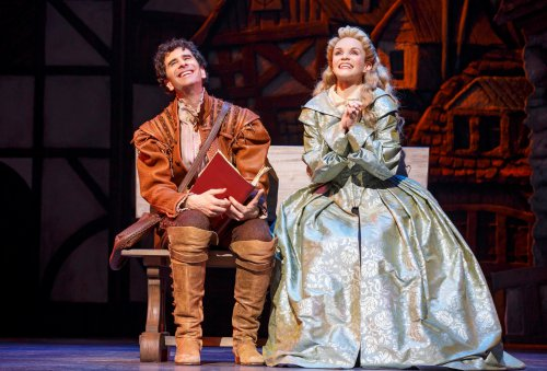 """John Cariani and Kate Reinders in a scene from """"Something Rotten!"""" (Photo credit: Joan Marcus)"""