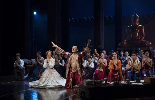 "Kelli O'Hara, Ken Watanabe and Company in a scene from the Lincoln Center Theater revival of ""The King and I"" (Photo credit: Paul Kolnik)"