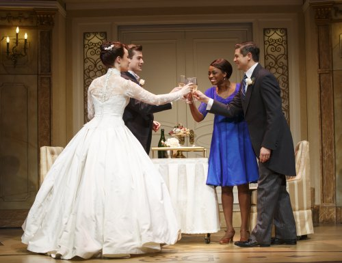 "Sierra Boggess, Nick Spangler, Montego Glover and David Burtka in a scene from ""It Shoulda Been You"" (Photo credit: Joan Marcus)"