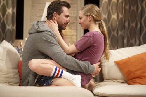 "Thomas Sadoski and Amanda Seyfried in a scene from Neil LaBute's ""The Way We Get By"" (Photo credit: Joan Marcus)"