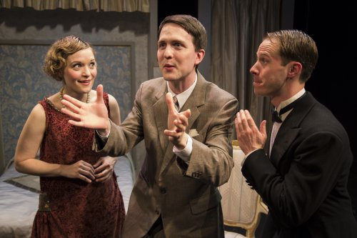 """Alisha Spielmann, Ryan McCurdy, and Ben Schnickel in a scene from Retro Production's revival of George S. Kaufman's """"The Butter and Egg Man"""" (Photo credit: Kyle Connolly)"""
