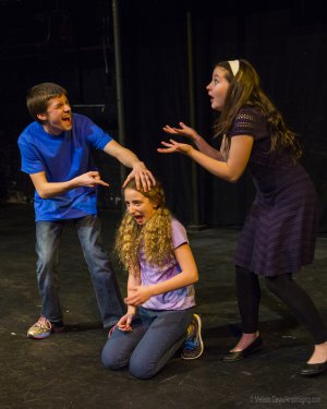 "The Viper Bullies Classmates in a scene from ""Out of My Comfort Zone"" (Photo credit: Courtesy of Children's Acting Company)"
