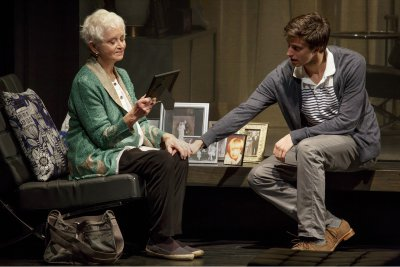 "Barbara Barrie and Gideon Glick in a scene from ""Significant Other"" (Photo credit: Joan Marcus)"