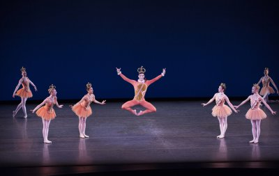 """Christopher D'Ariano and cast in a scene from Jerome Robbins' """"Fanfare""""(Photo credit: Paul Kolnik)"""