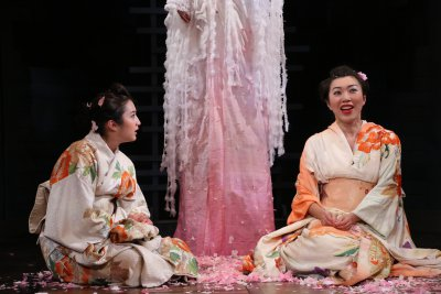 "Sasha Diamond and Jo Mei in a scene from Leah Nanako Winkler's ""Double Suicide at Ueno Park!"" (Photo credit: Gerry Goodstein)"