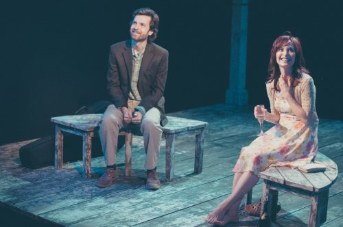 "Dusty Brown and Julie Voshell in a scene from The Barrow Group's revival of ""The Pavilion"" (Photo credit: Abigail Classey)"