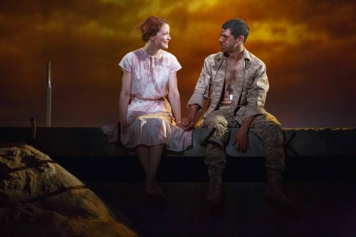 "Jelena Stupljanin and Brian Miskell in a scene from ""Afghanistan, Zimbabwe, America, Kuwait""(Photo credit: Joan Marcus)"