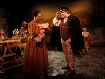 "Emily Stine as Susan Henchard and John Wiethorn as Captain Newson in a scene from ""Casterbridge"" (Photo credit: Rosalie Baijer)"