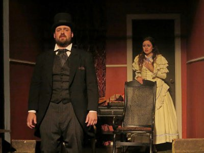 "Michael Hurst as Henchard and Katarina Lugo as Elizabeth-Jane in a scene from ""Casterbridge"" (Photo credit: Rosalie Baijer)"