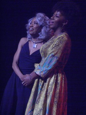 "Adriane Lenox and daughter Crystal Joy as they sang ""For Good"" at Broadway Unplugged 2015 (Photo credit: Maryann Lopinto)"