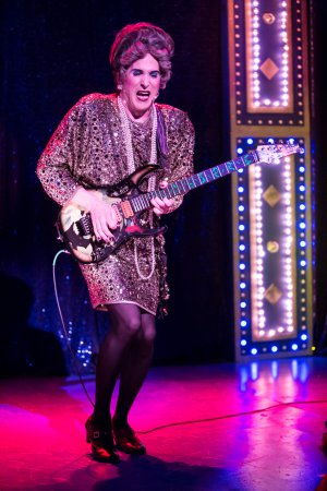 "David Hanbury as the diva Mrs. Smith in a scene from ""Mrs. Smith's Broadway Cat-tacular"" (Photo credit: Dan Norman)"